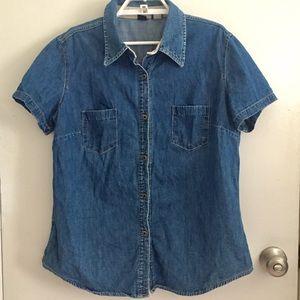 Gap Denim Short Sleeve Shirt Size XL